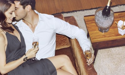 Cosmo Life: Weekend.  - people, positive emotion, couple kissing, drinking Champagne