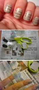 manichiura cu hartie de ziar