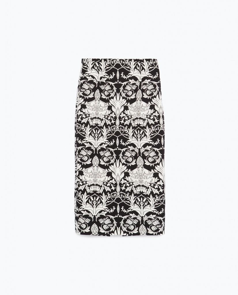 fusta cu imprimeu floral, Zara