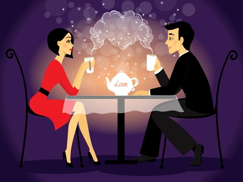 Dating couple scene, love confession  illustration