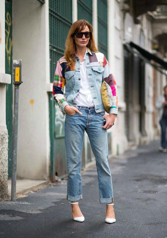 jacheta din denim patchwork