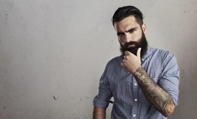 Thoughtful bearded man
