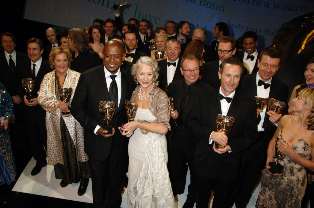 LONDON - FEBRUARY 11:  (EMBARGOED FOR PUBLICATION IN UK TABLOID NEWSPAPERS UNTIL 48 HOURS AFTER CREATE DATE AND TIME. EMBARGOED UNTIL 9PM GMT FEBRUARY 11, 2007)  Actor Forest Whitaker and actress Helen Mirren pose with their Best Actor and Best Actress Award in the awards room along with the other winners at the Orange British Academy Film Awards, at the Royal Opera House on February 11, 2007 in London, England.  (Photo by Dave M. Benett/Getty Images)