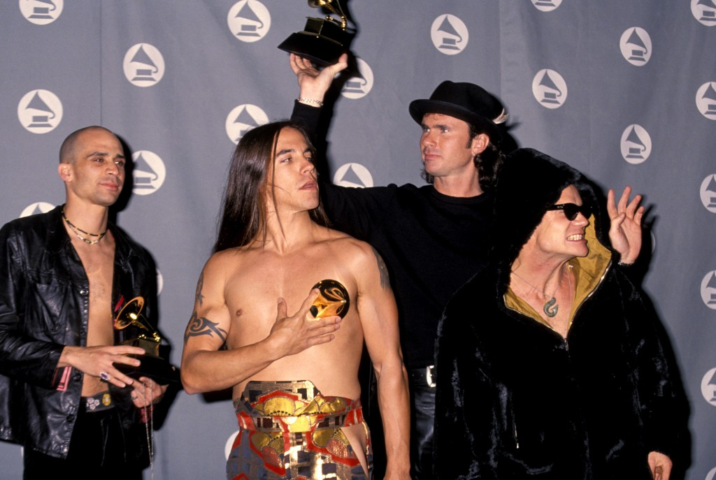 Arik Marshall, Anthony Kiedis, Chad Smith and Flea of Red Hot Chili Peppers (Photo by Jim Smeal/WireImage)