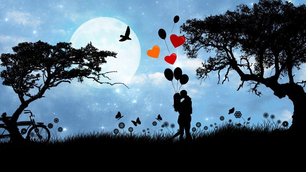 Cuplu care se saruta in natura