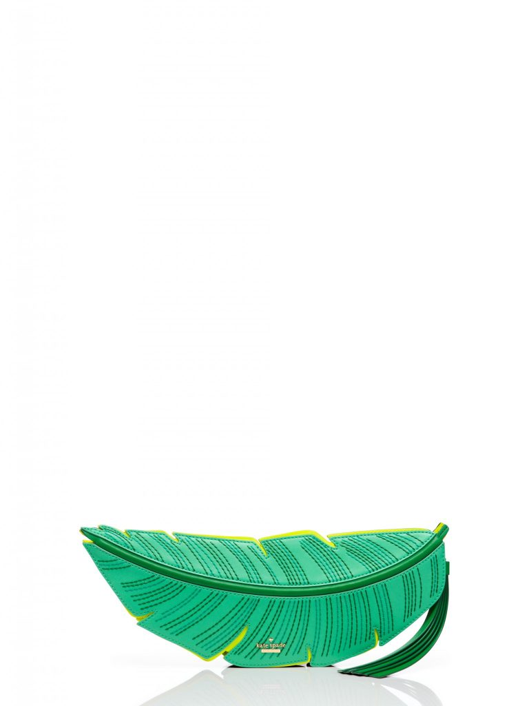 kate spade palm leaf clutch