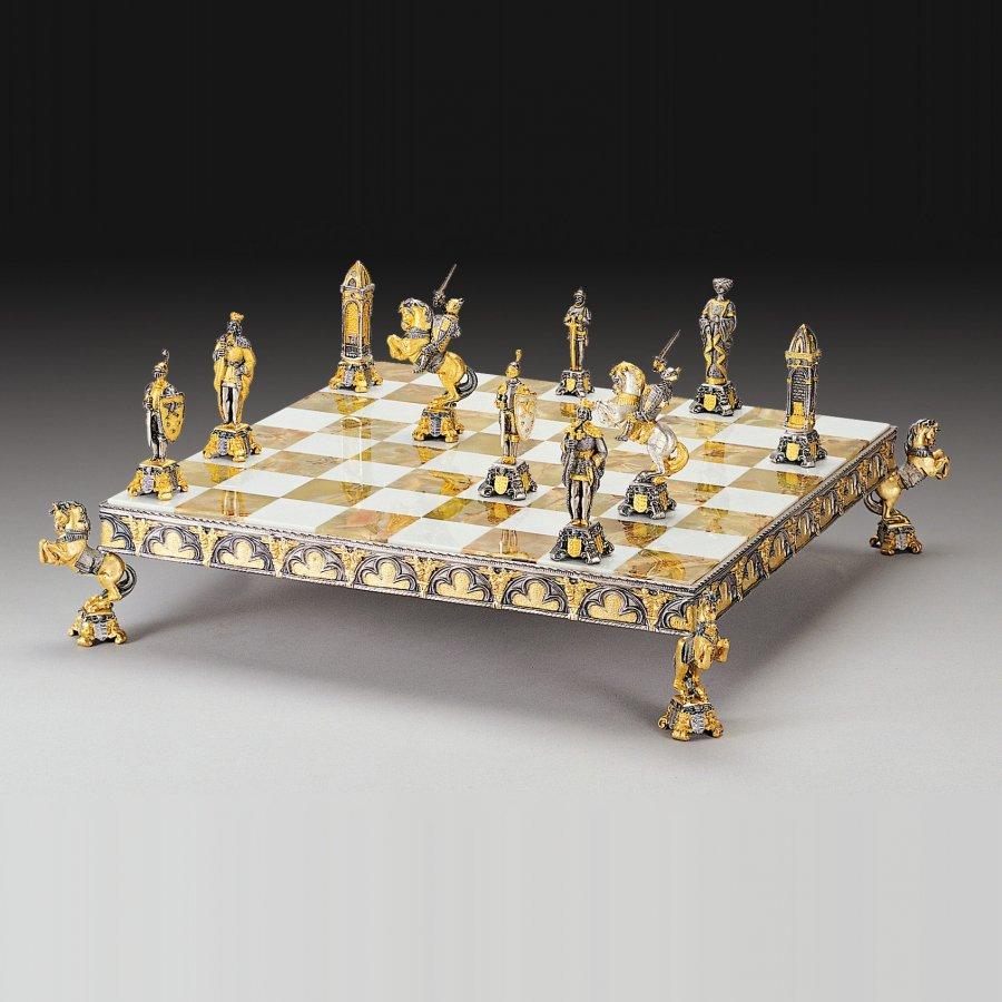 set-de-sah-cavaleri-medievali-bronz-si-aur-24k