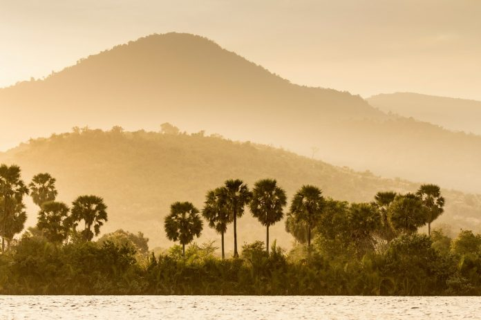 View of Bokor National Park/ Preah Monivong National Park from the river, Kampot, Cambodia